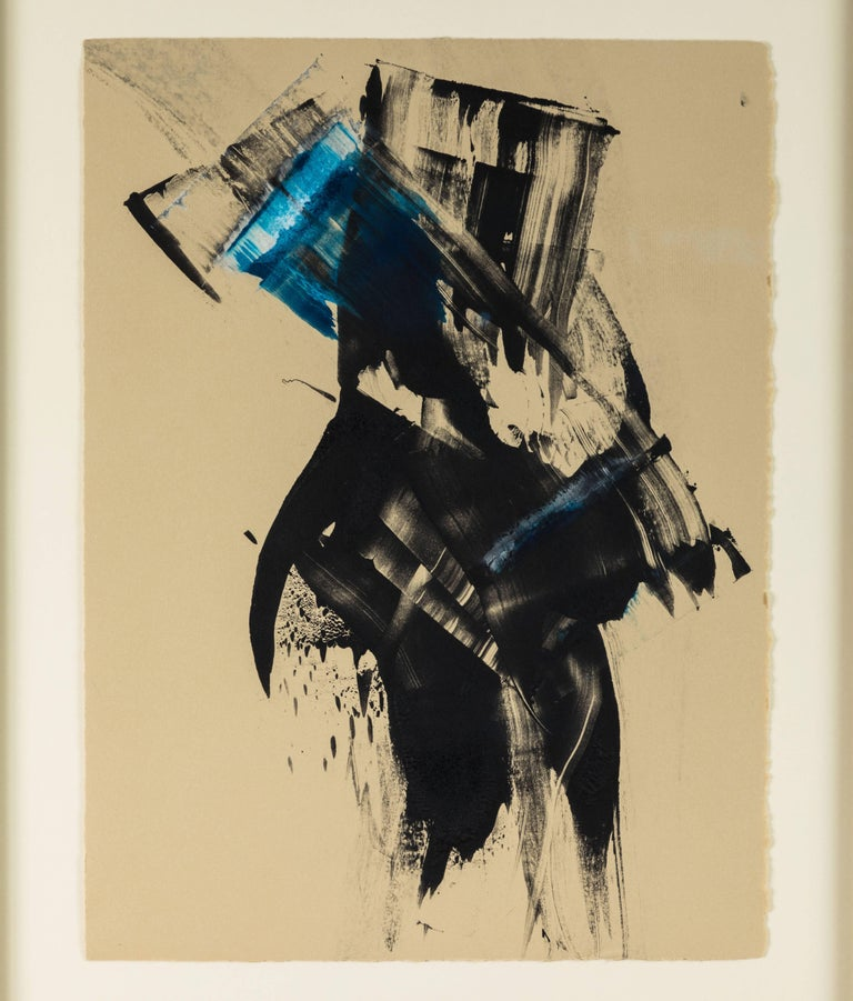 American Blue Black Abstract Monoprint by Anna Ullman For Sale