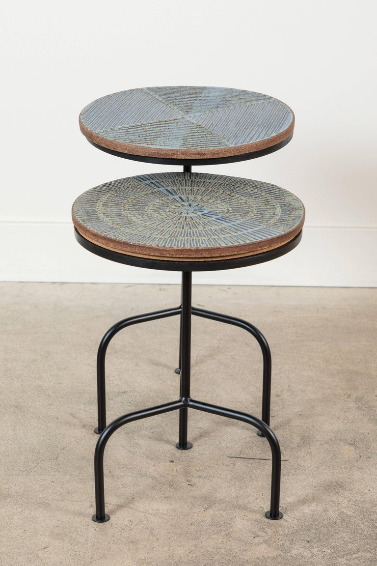 Steel and Ceramic Side Table by Mt. Washington Pottery for Collabs in Clay For Sale 3