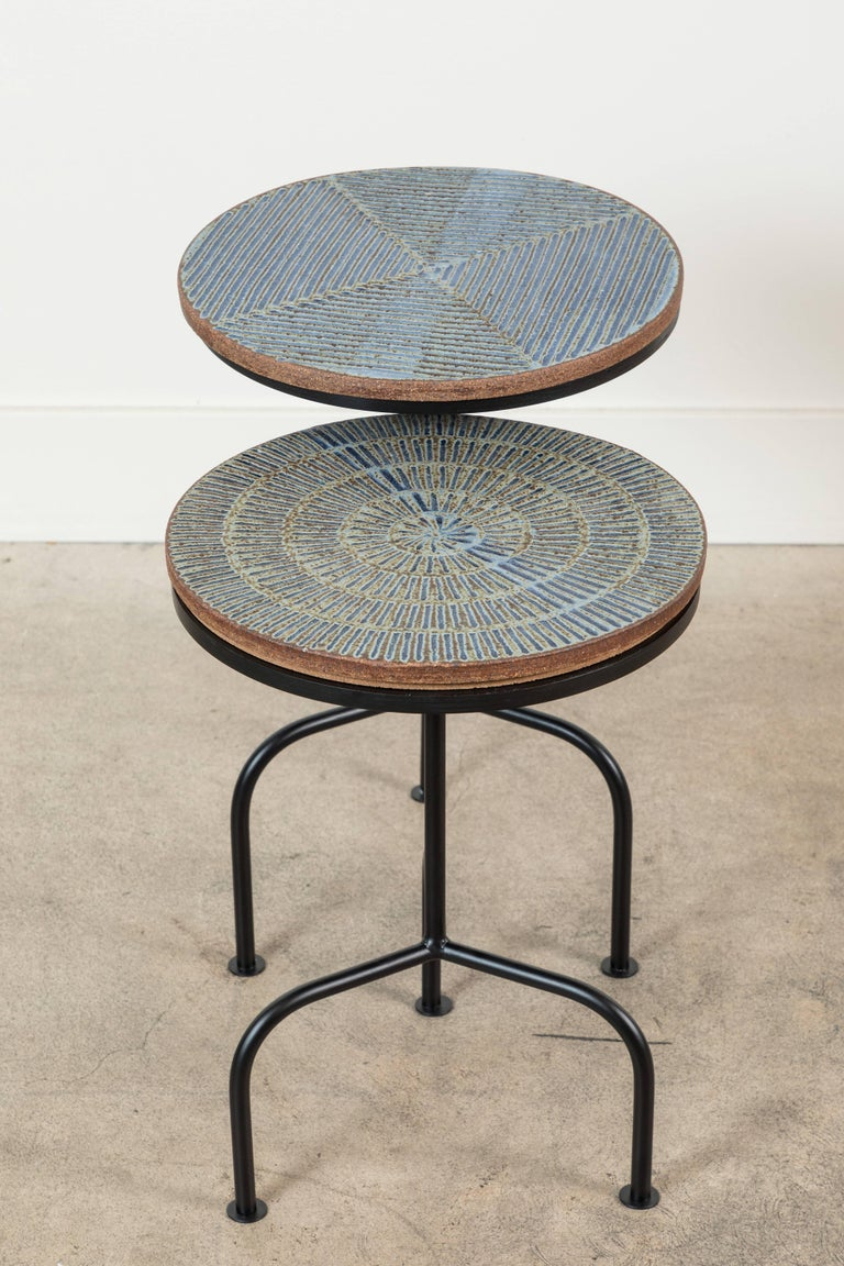 Steel and Ceramic Side Table by Mt. Washington Pottery for Collabs in Clay For Sale 4