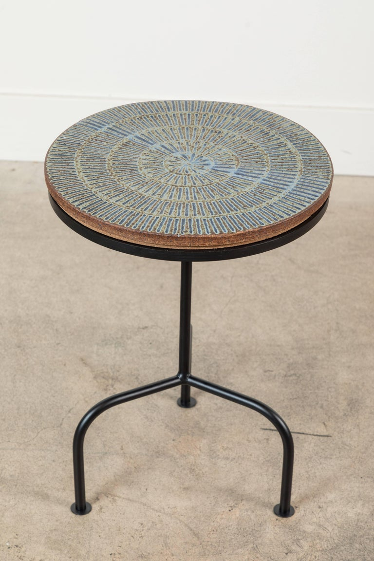 American Steel and Ceramic Side Table by Mt. Washington Pottery for Collabs in Clay For Sale