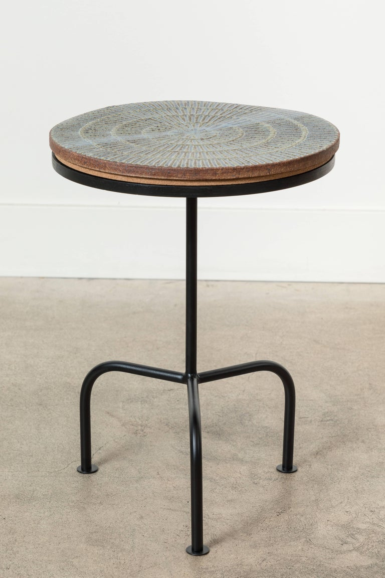 Contemporary Steel and Ceramic Side Table by Mt. Washington Pottery for Collabs in Clay For Sale
