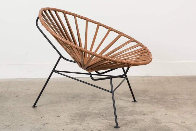 Mid-Century Modern Sayulita Lounge Chair in Leather by Mexa For Sale