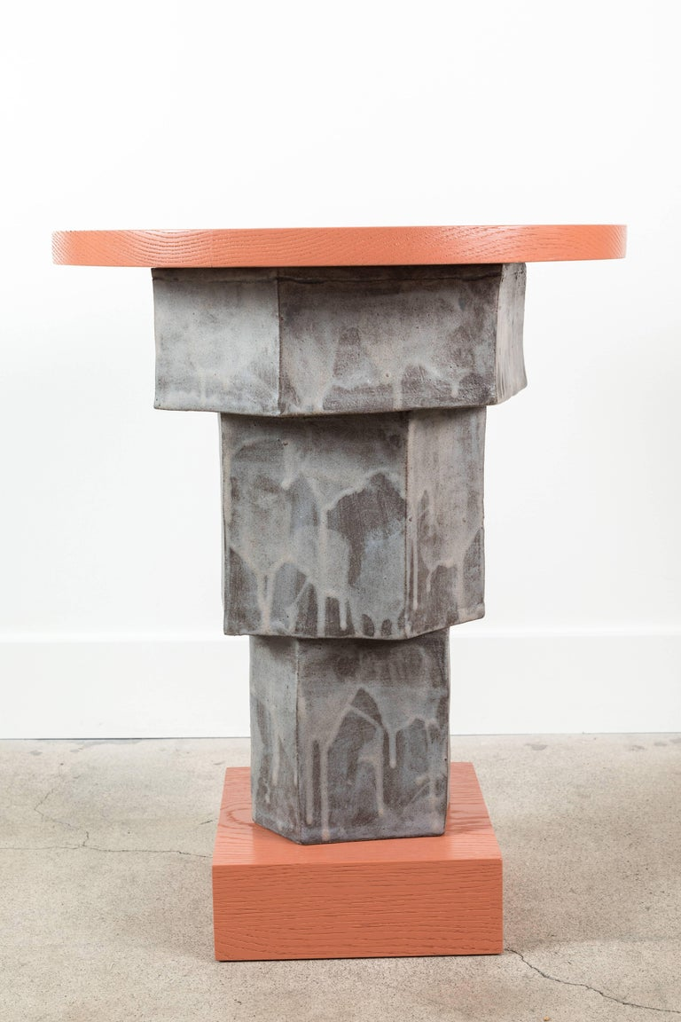 Solid Oak and Ceramic Side Table by BZippy & Co. for Collabs in Clay 2