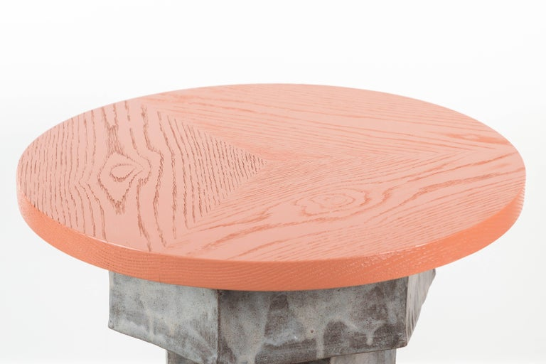 Solid Oak and Ceramic Side Table by BZippy & Co. for Collabs in Clay 3