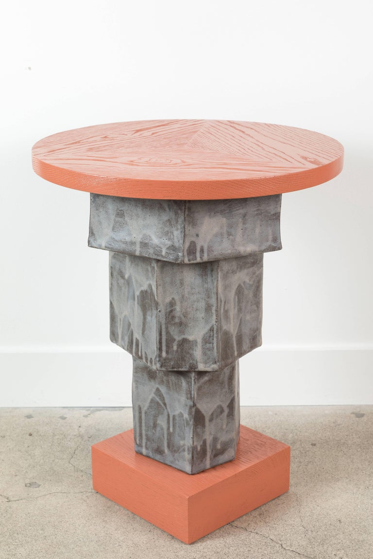Solid Oak and Ceramic Side Table by BZippy & Co. for Collabs in Clay 4