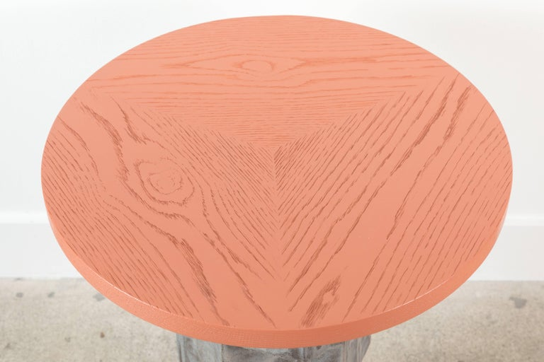 Solid Oak and Ceramic Side Table by BZippy & Co. for Collabs in Clay 7