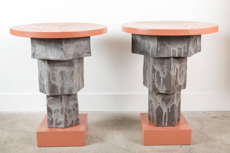 Solid Oak and Ceramic Side Table by BZippy & Co. for Collabs in Clay 9