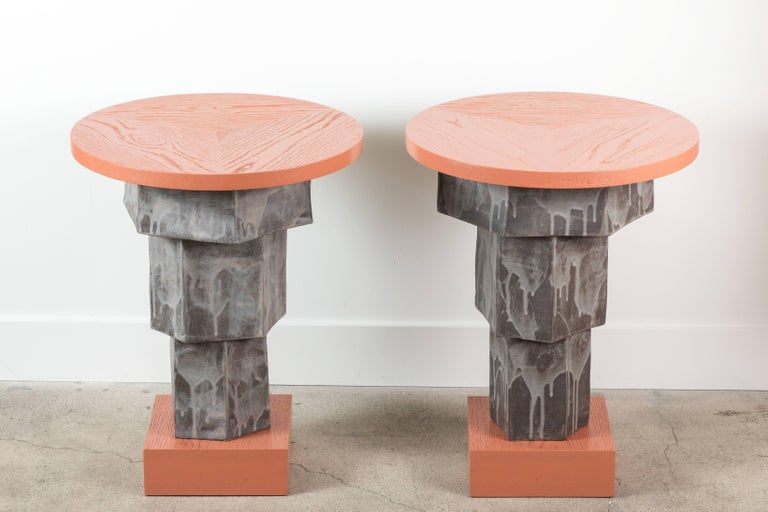 Solid Oak and Ceramic Side Table by BZippy & Co. for Collabs in Clay 10