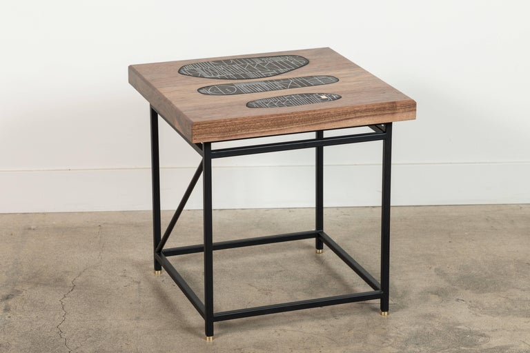 Mid-Century Modern Solid Walnut and Ceramic Side Table by Heather Rosenman for Collabs in Clay For Sale