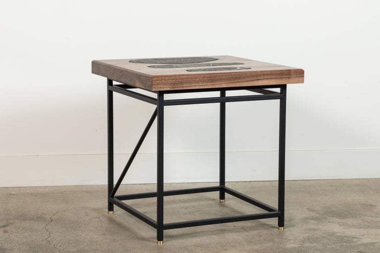 American Solid Walnut and Ceramic Side Table by Heather Rosenman for Collabs in Clay For Sale