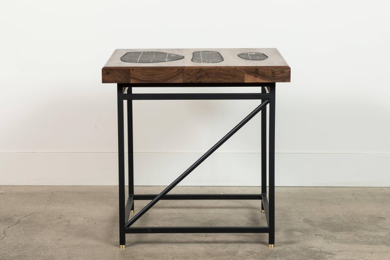 Contemporary Solid Walnut and Ceramic Side Table by Heather Rosenman for Collabs in Clay For Sale