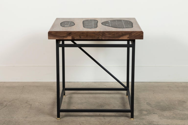 Solid Walnut and Ceramic Side Table by Heather Rosenman for Collabs in Clay For Sale 2
