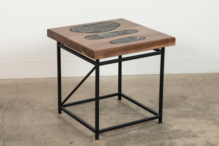 Solid walnut and ceramic side table by Heather Rosenman for Collabs in clay.