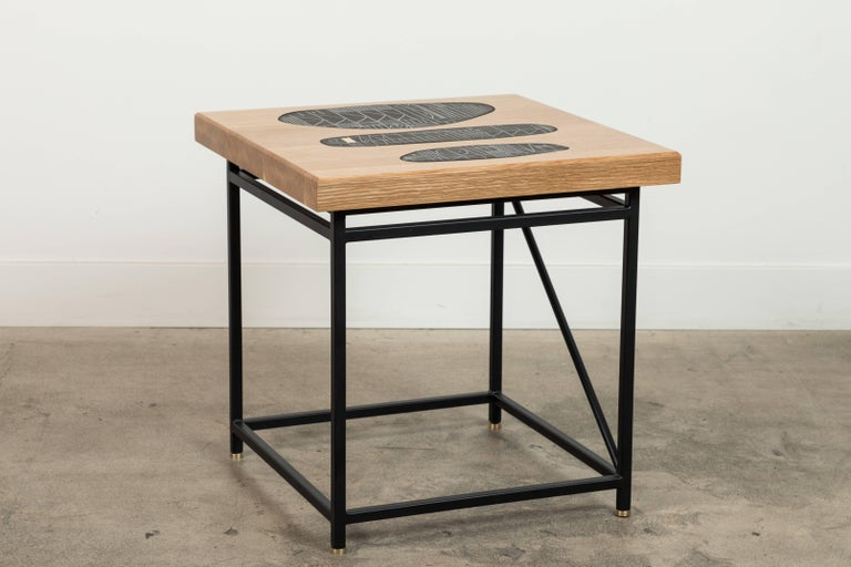 Steel Solid Walnut and Ceramic Side Table by Heather Rosenman for Collabs in Clay For Sale