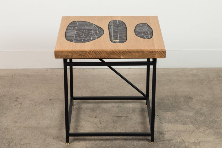 Solid Walnut and Ceramic Side Table by Heather Rosenman for Collabs in Clay In Excellent Condition For Sale In Los Angeles, CA