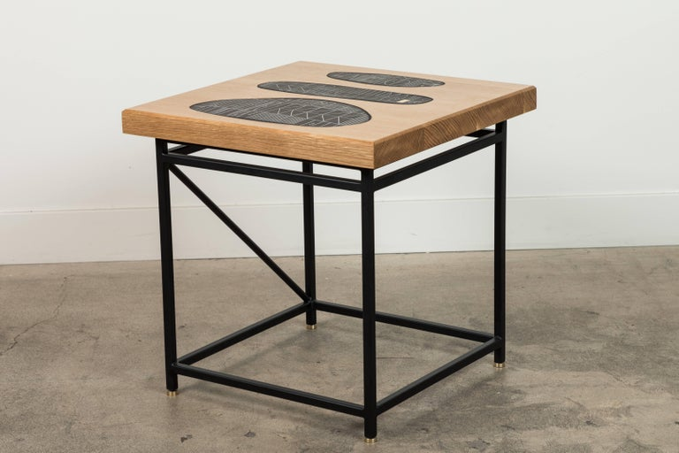 Solid Walnut and Ceramic Side Table by Heather Rosenman for Collabs in Clay For Sale 1