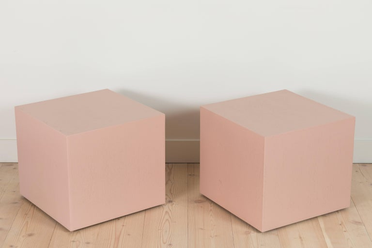 Pair of cube side tables by Lawson-Fenning in Pigmented Oak
