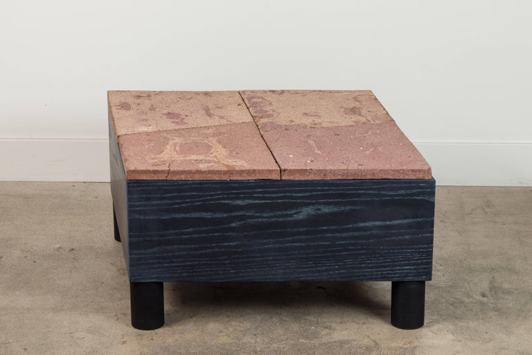 Solid oak and ceramic side table by Jonathan Cross for Collabs in Clay.