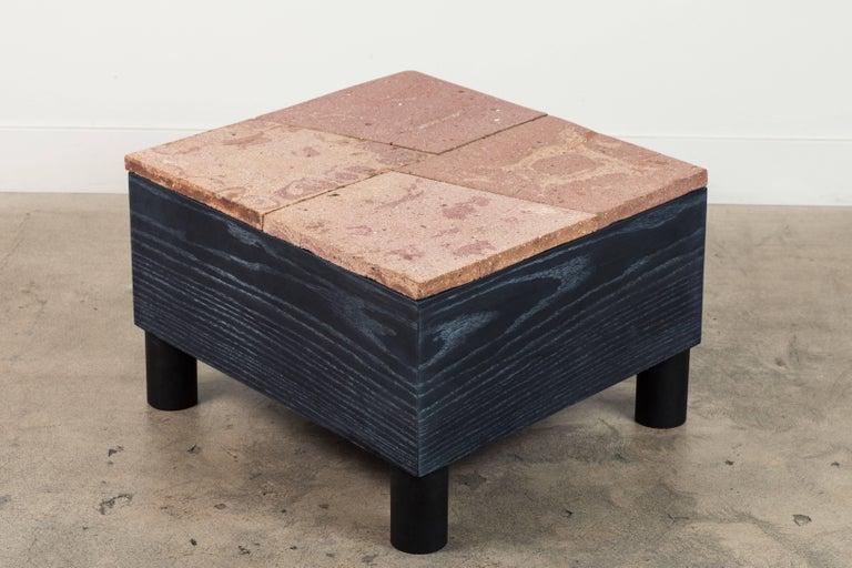 Contemporary Solid Oak and Ceramic Side Table by Jonathan Cross for Collabs in Clay For Sale