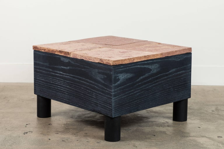 Solid Oak and Ceramic Side Table by Jonathan Cross for Collabs in Clay For Sale 1