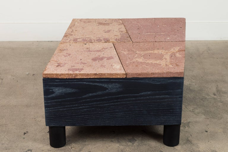 Solid Oak and Ceramic Side Table by Jonathan Cross for Collabs in Clay For Sale 3