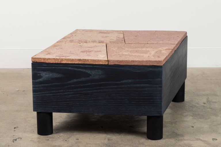 American Solid Oak and Ceramic Side Table by Jonathan Cross for Collabs in Clay For Sale