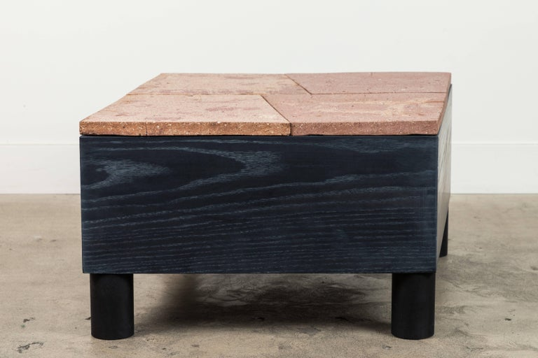 Solid Oak and Ceramic Side Table by Jonathan Cross for Collabs in Clay For Sale 4