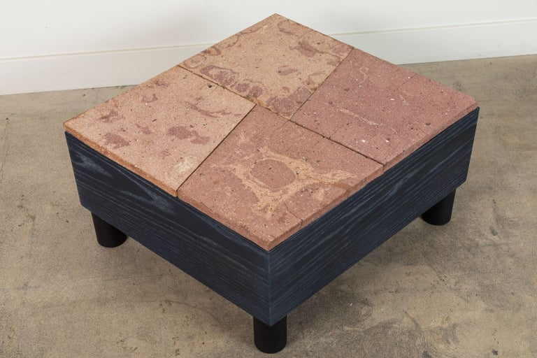 Mid-Century Modern Solid Oak and Ceramic Side Table by Jonathan Cross for Collabs in Clay For Sale