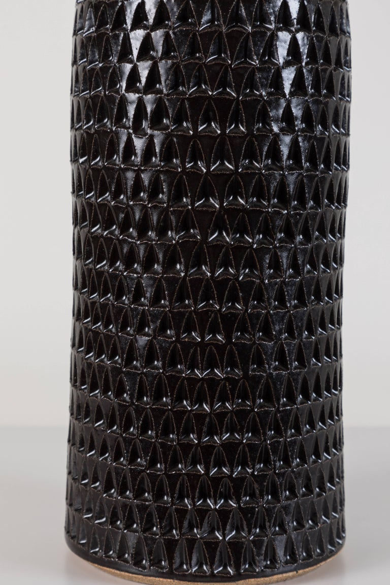 Pair of Extra Large Black Carved Bottle Lamps by Victoria Morris In Excellent Condition For Sale In Los Angeles, CA
