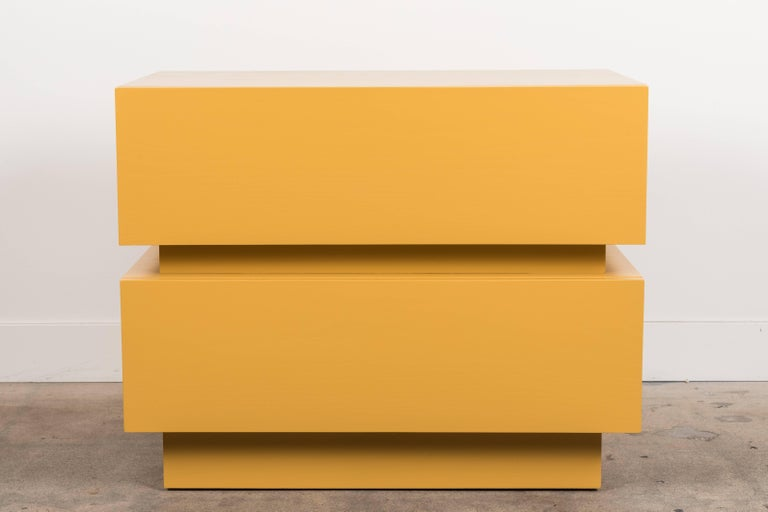 Pair of large stacked box nightstands by Lawson-Fenning  Available to order in various finishes with a 10-12 week lead time.