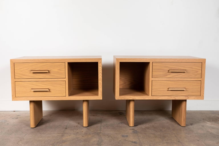 Pair of inverness nightstands by Lawson-Fenning.  Available to order in various finishes with a 10-12 week lead time.
