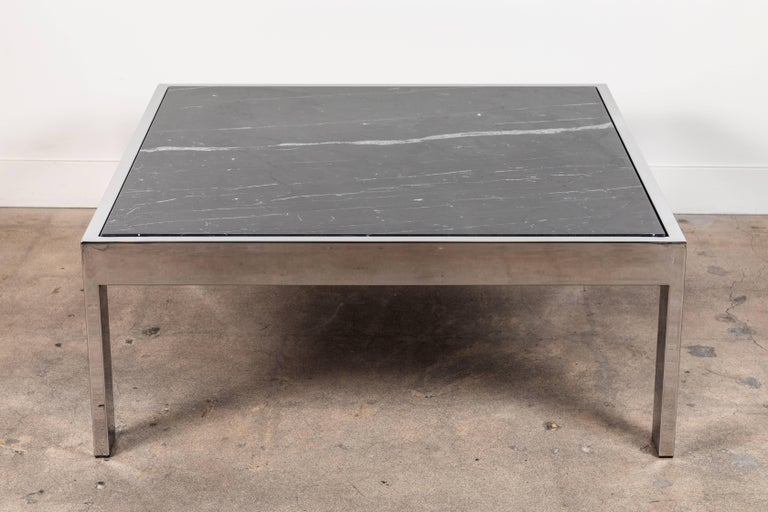 Pace coffee table by Lawson-Fenning in chrome and Negra marquina.