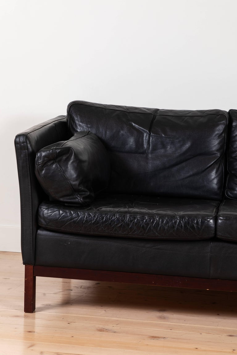 Mid-20th Century Danish Black Leather Sofa by Mogens Hansen For Sale