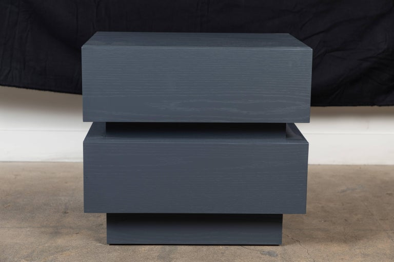 Pair of small stacked box nightstands by Lawson-Fenning  Available to order in various finishes with a 10-12 week lead time.