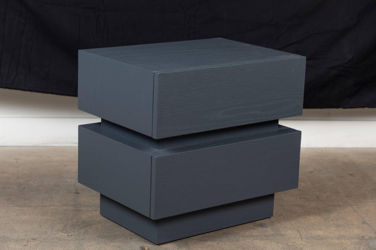 Mid-Century Modern Pair of Small Stacked Box Nightstands by Lawson-Fenning For Sale