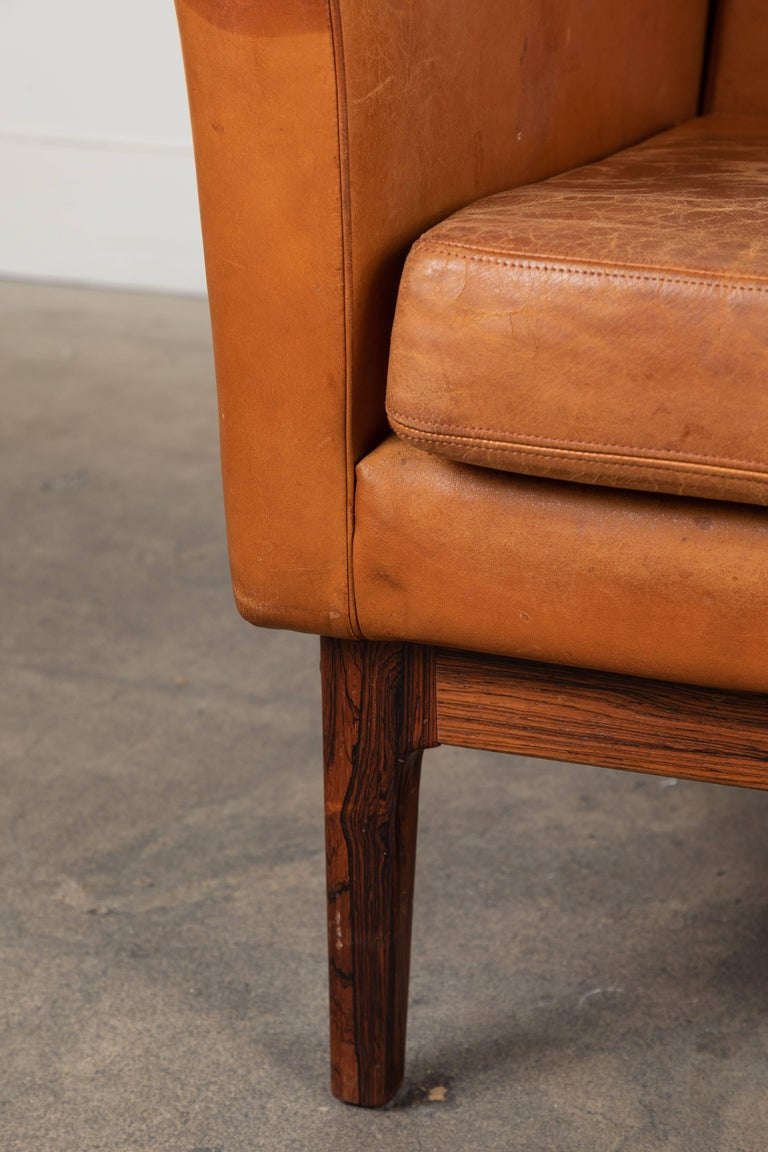 Swedish Vintage Leather and Rosewood Chair by Arne Norell For Sale