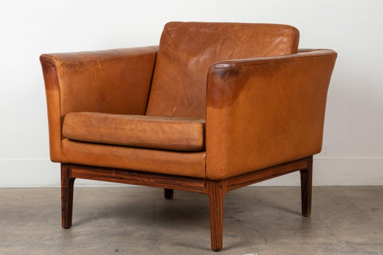 Vintage Leather and Rosewood Chair by Arne Norell In Excellent Condition For Sale In Los Angeles, CA