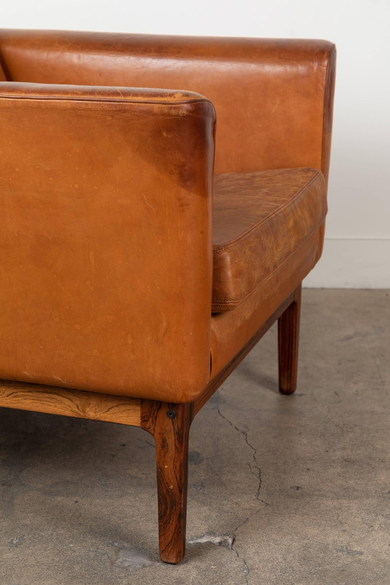 Vintage Leather and Rosewood Chair by Arne Norell For Sale 4