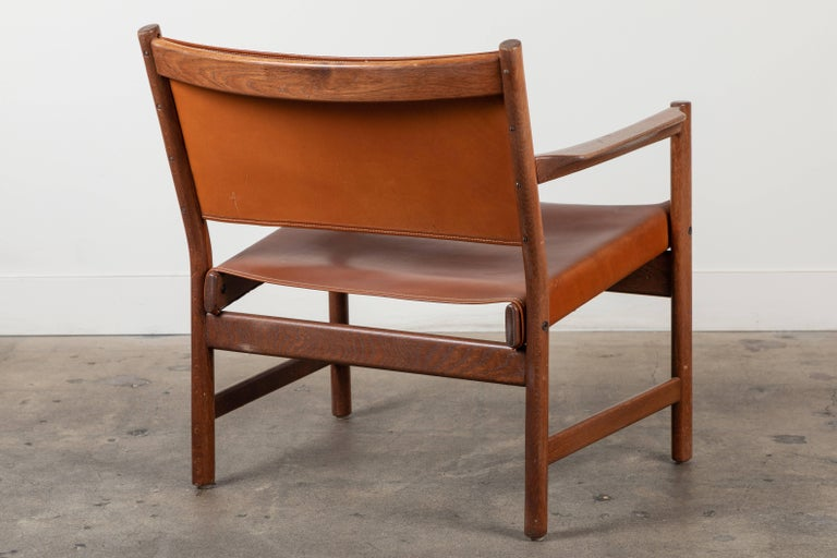 Pair of Leather Lounge Chairs Attributed to Gunnar Myrstrand For Sale 1