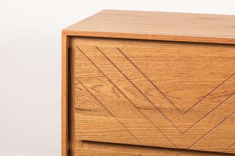 The platform chest is a six-drawer chest with a solid American walnut or white oak front and base, with scribed drawers. Shown here in oiled oak.   Available to order in customer's own material with a 10-12 week lead time.