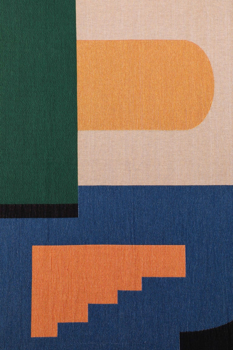 Architecture tapestry by Studio Herron. Includes two wooden dowels.
