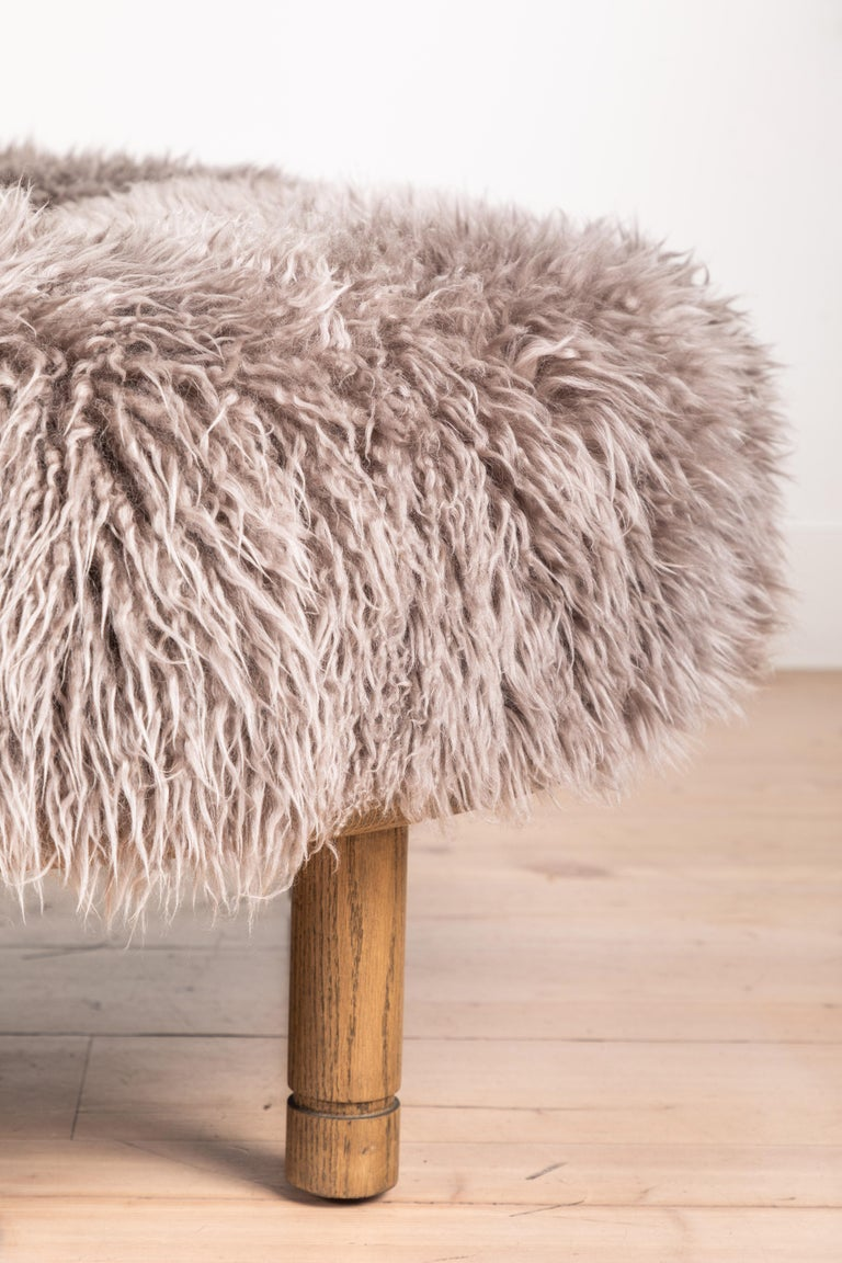 Mid-Century Modern Moreno Ottoman in Shearling by Lawson-Fenning For Sale