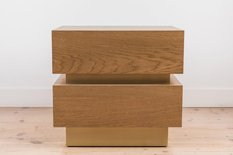 Contemporary Pair of Small Stacked Box Nightstands by Lawson-Fenning For Sale