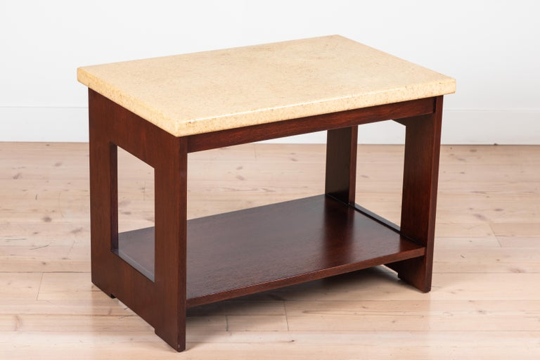 Mid-Century Modern Cork and Mahogany Side Table Side Table by Paul Frankl For Sale