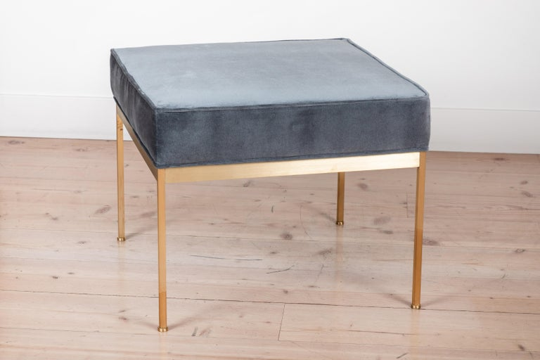 Pair of Square Brass Ottomans by Lawson-Fenning In Excellent Condition For Sale In Los Angeles, CA