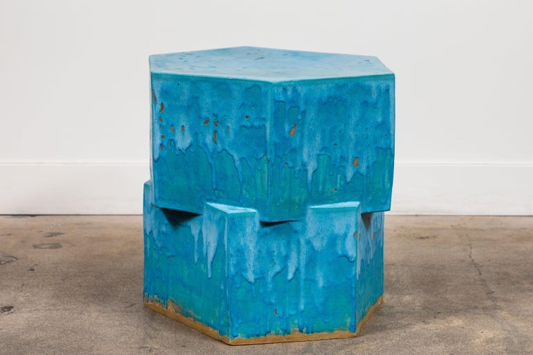 Mid-Century Modern 2-Tier Hex Side Table by Bari Ziperstein for Lawson-Fenning For Sale