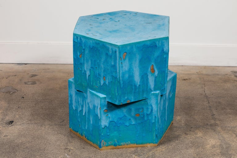 2-Tier Hex Side Table by Bari Ziperstein for Lawson-Fenning In Excellent Condition For Sale In Los Angeles, CA