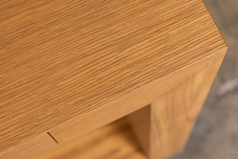 Oak Palisades Console with Metal Inset Base by Lawson-Fenning For Sale