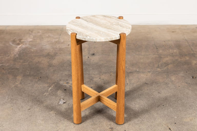 Travertine Bronson Drinks Table by Lawson-Fenning For Sale
