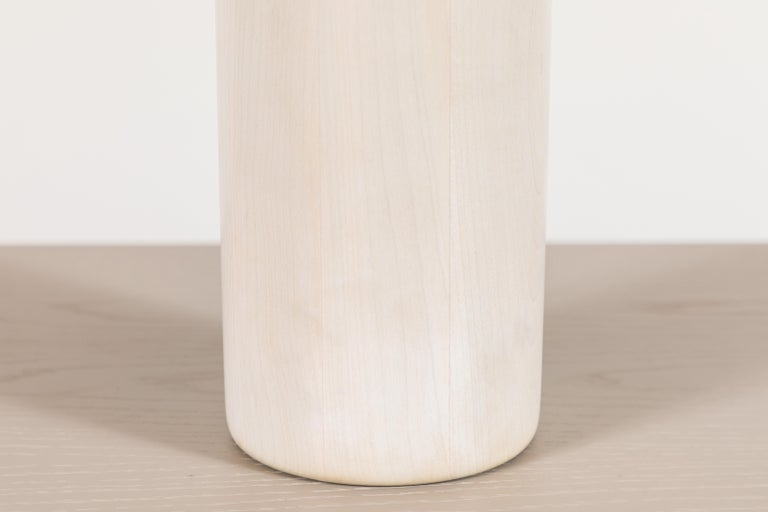 Mid-Century Modern Cast Bronze and Bleached Maple Vase by Vincent Pocsik For Sale